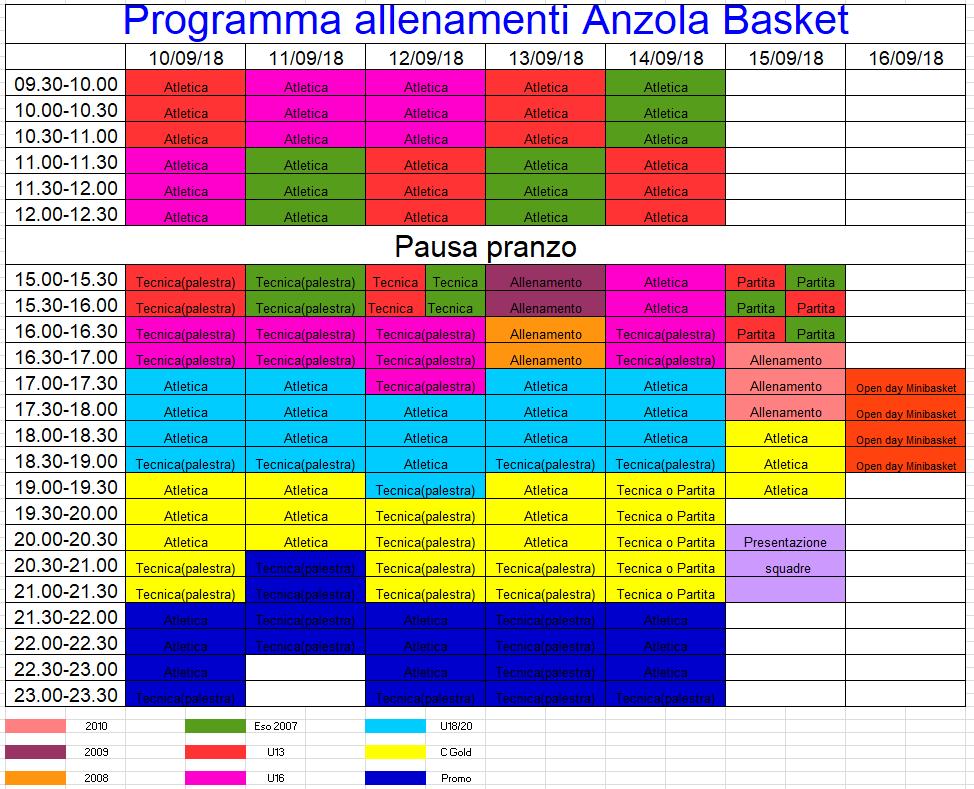 Orario Allenamenti Anzola Basket