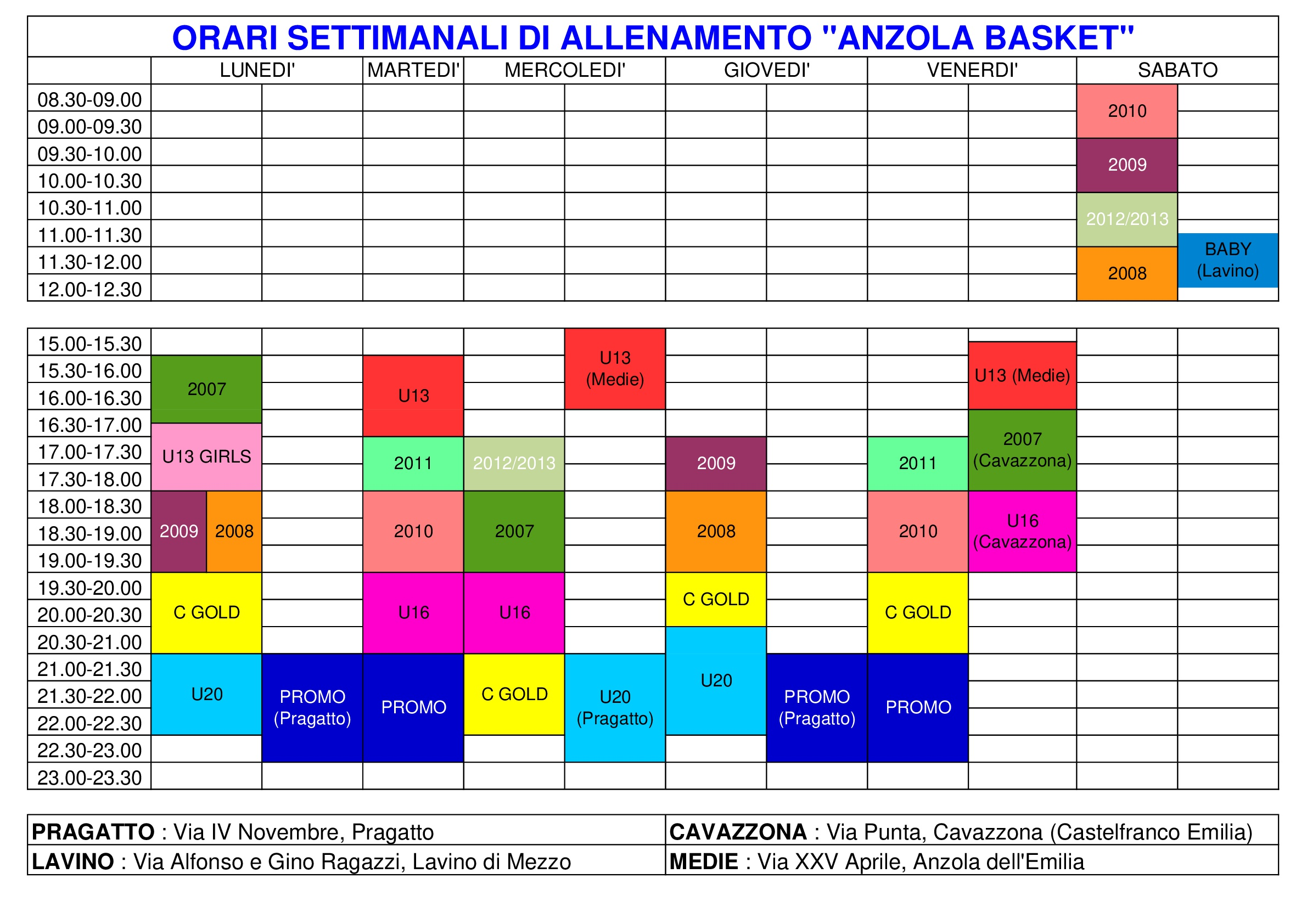 Orario Allenamenti Anzola Basket